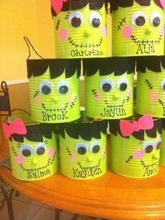 Halloween Frankenstein Boy/Girl Buckets made from giant green bean cans