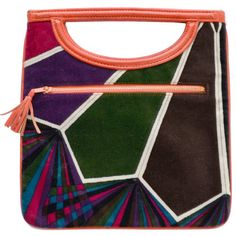 Pre-owned Emilio Pucci by Jana Vintage Handbag Mod Geometric Op Art... (27,840 PHP) ❤ liked on Polyvore featuring bags, handbags and purses, novelty bags, pre owned bags, leather bags, preowned bags, vintage leather bag and multicolor bag