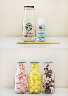 Old Frap bottles with acrylic paint! Great idea!