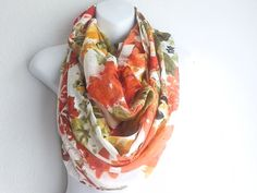 Boho Floral Scarf, Scarves, Spring scarfs, Infinity Scarfs, Oblong scarf, Bohemian Scarf for women on Etsy, $14.99