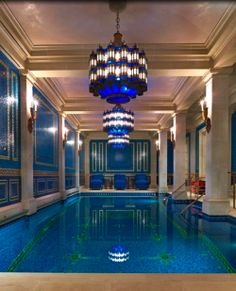 breathtaking indoor swimming pool located in a 30,000 square foot mansion that belongs to Texas Billionaire Gerald Ford.