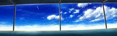 Blue scenic sky window panes (2625x825, scenic, sky, window, panes)  via www.allwallpaper.in