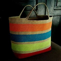 tapestry crochet bag. made from waxed cotton cord 1 mm