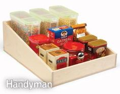 Kitchen Storage: Cabinet Rollouts — The Family Handyman Pull Out Pantry Shelves, Sliding Shelves, Storage Shelves, Storage Ideas, Shelf, Pantry Shelving, Kitchen Cabinet Storage, Kitchen Cupboards, Kitchen Pantry