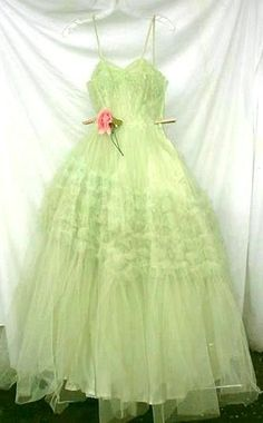 Vintage 1950's  Prom Mint Green Gown S by divelegant on Etsy, $185.00