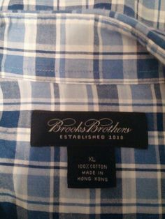 XL Blue Plaid Button Up Brooks Brothers 100% Cotton Short Sleeve Shirt in Clothing, Shoes & Accessories | eBay