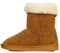 NEW WOMENS FAUX FUR LINED GIRLS LADIES SUEDE WINTER COW SKIN FLAT BOOTS
