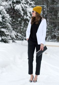 Winter look. Black white and yellow outfit. Tuxedo blazer. Laura Wears ...