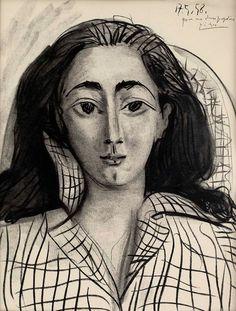 Pablo Picasso - Portrait of Jacqueline. Kunst Picasso, Art Picasso, Picasso Drawing, Picasso Paintings, Georges Braque, Spanish Painters, Famous Artists, Oeuvre D'art, Female Art