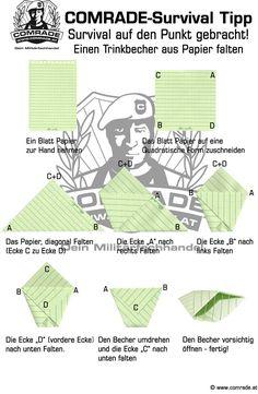 Einen Trinkbecher aus Papier falten Survival, Origami, Kindergarten, Map, Search, Google, Art Education Resources, Drinking, Tips