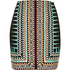 Green embroidered print mini skirt