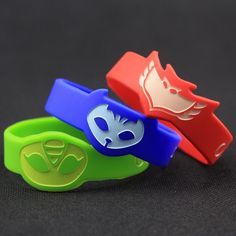 3pcs/set PJ Party Decoration Masks Green Blue Red Resin Birthday Party For Kids Bracelet Wristband Toys Free Shipping