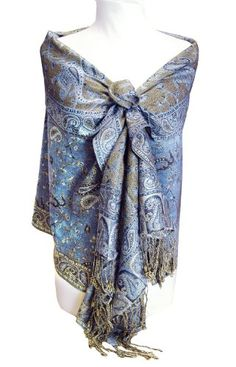 Embossed Butterflies Large Scarf Silky Fine Pashmina Fashion Stole Wrap Womens