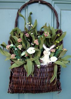 Spring Basket Wreath $28 @ http://www.etsy.com/listing/90165562/spring-basket-wreath