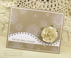 Lace designs stamped on Kraft cardstock with white ink