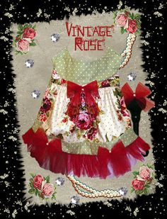 Vintage Rose harness dress & hair bow- dog clothes sewing pattern by http://missdaisydesigns.com