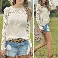 Floral Lace Shoulder and Sleeves Chiffon Blouse