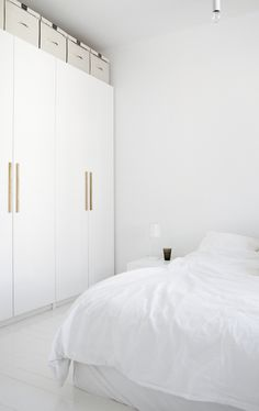 Going to paint our bedroom white and get wardrobe doors like these, loving my new found swedish inspiration!