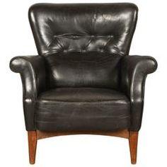 Black Leather Armchair by Finn Juhl, $3,200