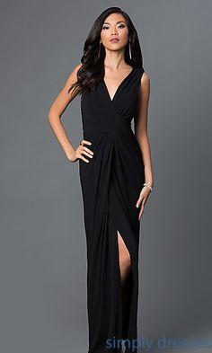 V-Neck Sleeveless Ruched Long Dress with Slit