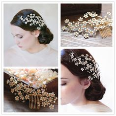 New Pretty Flower Bridal Hair Comb Crystal Gold Veil Tiara Handmade Wedding Prom Accessories Hair Jewelry(China (Mainland))