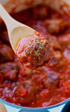 Easy Italian Meatballs Recipe on Yummly. Meatball Recipes, Beef Recipes, Italian Recipes, Cooking Recipes, Meatball Subs, Great Recipes, Dinner Recipes, Favorite Recipes, Easy Italian Meatballs