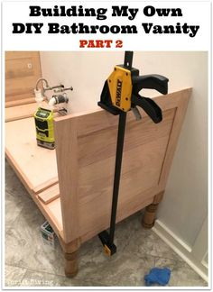 """See how I'm building my own 60"""" DIY bathroom vanity! This is Part 2. Be sure to check out Part 1: Attaching the Legs and Base. - Thrift Diving"""