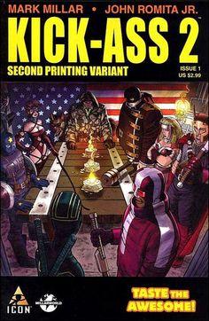 Cover for Kick-Ass 2 series) [Fourth Printing] Marvel Comic Books, Comic Movies, Comic Book Characters, Comic Books Art, Marvel Comics, Comic Art, Book Art, Star Trek, Kickass Comic