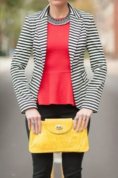 Black and white stripped blazer, black skinny jeans, coral peplum top and yellow clutch