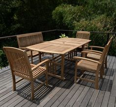 Patio Table And Chairs With Umbrella Hole Teak Outdoor Dining Set Wood Bench Pc Table, Teak Dining Table, Outdoor Dining Set, Outdoor Living Areas, Patio Dining, Patio Table, Table Bench, Outdoor Tables, Garden Table