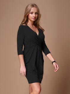 Wrap and tie mini dress in black | DDAtelier: http://dd-atelier.com/Wrap-and-tie-mini-dress-in-black.html