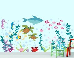 Amazon.com: Under Water Sea Decal (Sea Wall Decal - Sharks - Fish - Seaweed and More): Baby