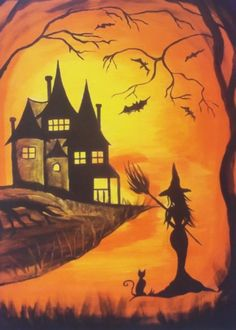 Witch Painting, Halloween Painting, Halloween Drawings, Autumn Painting, Halloween Pictures, Halloween Canvas Paintings, Witch Art, Halloween Rocks, Halloween Art