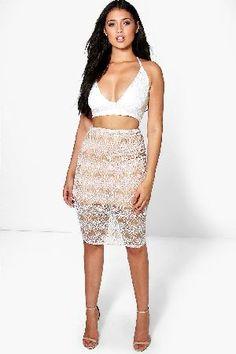 #boohoo Honor Embellished Midi Skirt - nude DZZ70852 #Boutique Honor Embellished Midi Skirt - nude