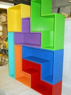 Tetris Bookshelves for all my gamer friends-These are so cool!