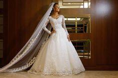 Noiva clássica vestido de manga longa - casamento Suzane e Augusto