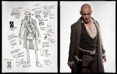 Gerard Way's concept art for the Killjoy character Korse, side by side with the final design worn by Grant Morrison | Make a wish when your childhood dies Tumblr | Explaining the world of the Killjoys in complete and total detail.