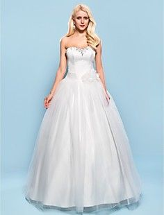Ball Gown Sweetheart Floor-length Satin And Tulle Wedding D... – USD $ 127.99