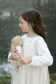 Nightgown - Linen nightie for girl and doll worn under the dress Stardust - Nils & Happy to see you
