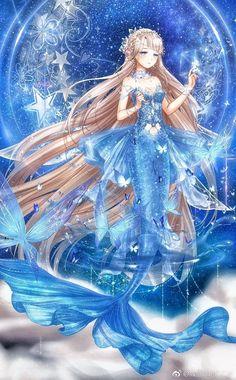Amazing miracle night on the sky and the pretty mermaid Mermaid Artwork, Mermaid Drawings, Anime Girl Drawings, Anime Art Girl, Manga Art, Cute Drawings, Fantasy Mermaids, Mermaids And Mermen, Anime Fantasy