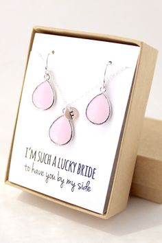 Blush Pink / Silver Teardrop Necklace and Earring Set - Bridesmaid Gift - Pink Bridesmaid Set - Bridesmaid Jewelry Set - ENB1
