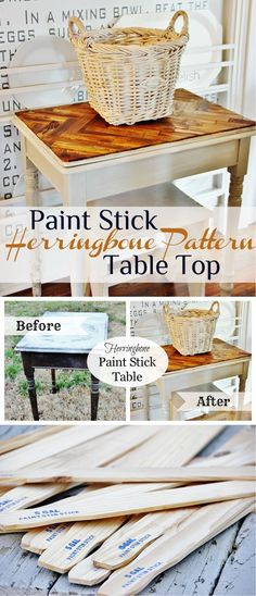 Paint Stick Table Projects and Tutorials | Paint Stick Herringbone Pattern Table Top by DIY Ready at http://diyready.com/paint-stick-diy-projects/