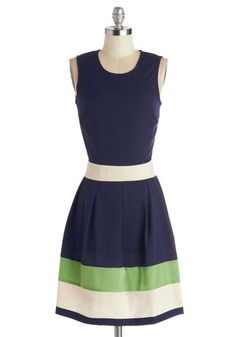 Coastal Companion Dress - Woven, Mid-length, Blue, Green, White, Stripes, Casual, A-line, Sleeveless, Good, International Designer, Scoop