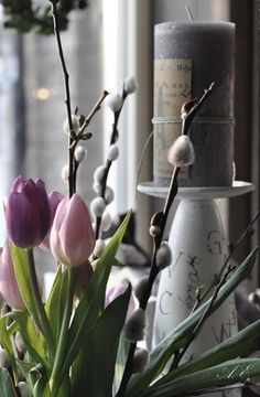 Easter In Scandinavian Style: 45 Natural Ideas | DigsDigs. Add textural Pussy Willow to potted Springs bulbs. Love the look here with Tulips.
