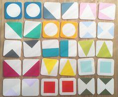 Bright, geometric memory game! // Happy Monday DIY // Farben und Formen Memory