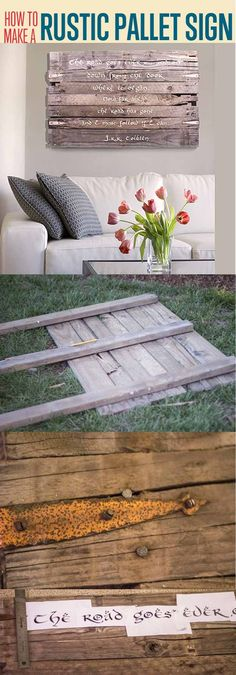 Pallet Wood Art Sign | DIY Outdoor Pallet Furniture Projects