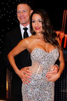 John Cena and his girlfriend Nikki Bella at the WWE Hall of Fame ceremony