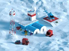 Low poly polar station on Behance