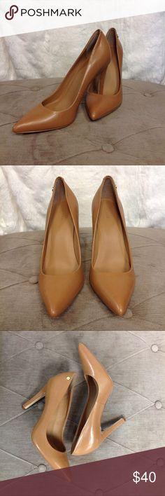 """Calvin Klein """"Brady"""" Beige Stiletto Elegant leather construction embodies a classic pointed toe pump lifted on a slender heel. 4.25"""" heel approximately. Slight heel damage on left shoe...please see 5th picture Calvin Klein Shoes Heels"""