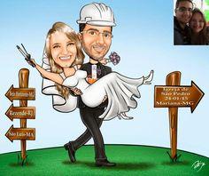 Desenho de noivinhos feito para Sergio !!! Parabéns ao casal e felicidades !!! www.ricksucaricaturas.com.br